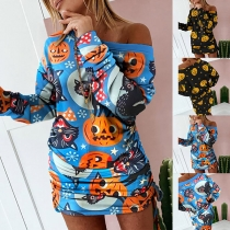 Sexy Off-shoulder Long Sleeve Side-drawstring Pumpkin Printed Dress
