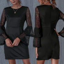 Sexy Lace Spliced Trumpet Sleeve Round Neck Slim Fit Dress