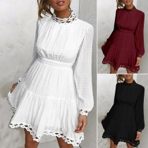 Fashion Solid Color Lantern Sleeve Hollow Out Mock Neck Dress