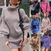 Fashion Solid Color Lantern Sleeve Turtleneck Knit Dress