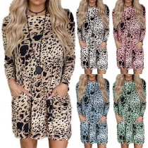 Fashion Long Sleeve Round Neck Leopard Printed Loose Dress