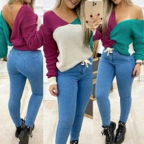 Sexy Backless Long Sleeve Contrast Color Twisted Sweater