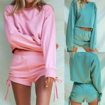 Fashion Solid Color Long Sleeve Top + Shorts Two-piece Set