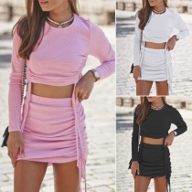 Sexy Solid  Color Long Sleeve Crop Top + High Waist Skirt Two-piece Set