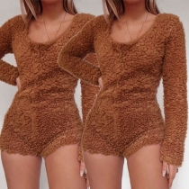 Fashion Solid Color Long Sleeve Round Neck Plush Romper