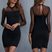 Sexy Gauze Spliced Long Sleeve Round Neck Tight Dress