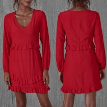 Sexy V-neck Long Sleeve Solid Color Ruffle Dress