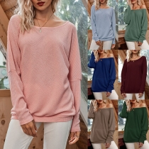 Fashion Solid Color Dolman Sleeve Round Neck Loose T-shirt