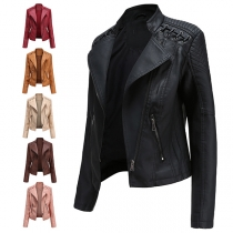 Fashion Solid Color Long Sleeve Lapel Slim Fit PU Leather Jacket(The size runs small)