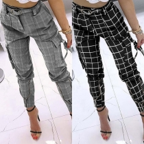 Fashion High Waist Side-pocket Plaid Pants without Belt