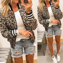 Fashion Long Sleeve Stand Collar Leopard Printed Jacket