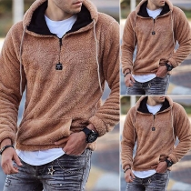 Fashion Solid Color Hooded Long Sleeve Plush Sweatshirt for Man