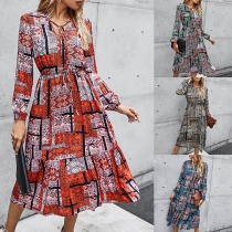 Fashion Contrast Color Printed Long Sleeve V-neck Dress