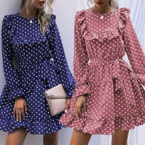 Sweet Style Long Sleeve Round Neck Dots Printed Ruffle Dress