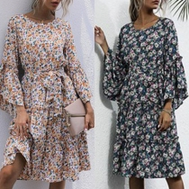 Fresh Style Trumpet Sleeve Round Neck Printed Dress