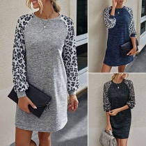 Fashion Leopard Printed Spliced Long Sleeve Round Neck Dress