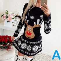 Cute Elk Printed Long Sleeve Round Neck Christmas Dress
