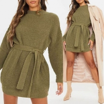 Fashion Solid Color Long Sleeve Round Neck Sweater Dress with Waist Strap