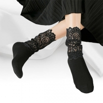 Fashion Solid Color Lace Spliced Loose Socks 2 Pair/Set