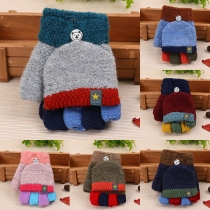 Fashion Contrast Color Knit Gloves for Kids