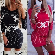 Fashion Long Sleeve Round Neck Christmas Printed Slim Fit Dress