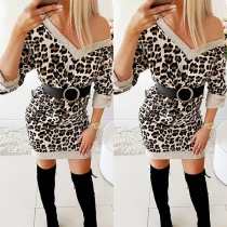 Sexy V-neck Leopard Printed Long Sleeve Slim Fit Dress