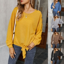 Fashion Solid Color Long Sleve Knotted Hem Knit Top