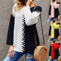 Fashion Contrast Color Round Neck Long Sleeve Lace-up Knitted Top