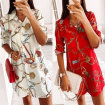 Fashion Long Sleeve POLO Collar Printed Shirt Dress
