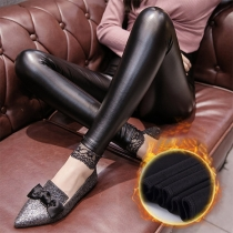 Fashion High Waist Pulsh Lining PU Leather Pants