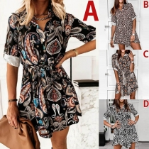 OL Style Long Sleeve POLO Collar Printed Shirt Dress