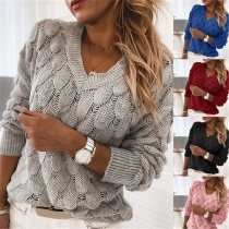 Fashion Solid Color V-Neck Long Sleeve Knitted Top