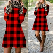 Fashion Long Sleeve Round Neck Plaid Dress