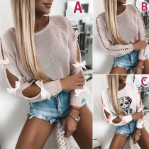 Fashion Hollow Out Bow-knot Long Sleeve Round Neck Knitted Top