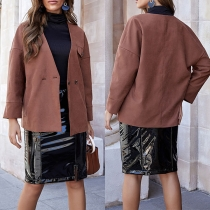 Fashion Loose Solid Color Button Long Sleeve Cardigan
