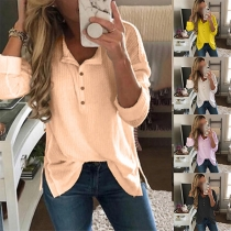 Fashion Solid Color Long Sleeve V-neck Slit Hem T-shirt