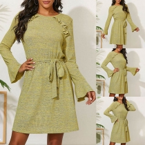 Sweet Style Trumpet Sleeve Round Neck Ruffle Dress
