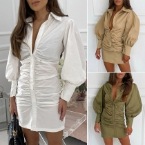 Fashion Solid Color Lantern Sleeve POLO Collar Shirt Dress