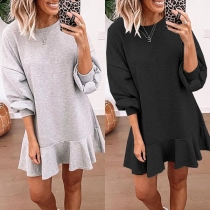 Solid Color Round Neck Ruffle Hem Long Sleeve Dress