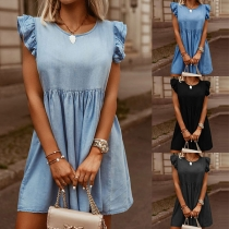 Solid Color Round Neck Ruffle Cuff Short Sleeve Denim Dress