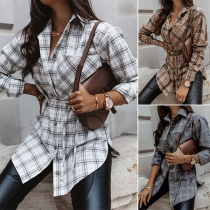 Fashion Long Sleeve POLO Collar Plaid Shirt