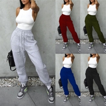 Casual Solid Color High-waist Big Pockets Sports Pants