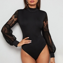 Sexy Lace Spliced Long Sleeve Mock Neck Slim Fit Bodysuit