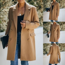 Elegant Solid Color Double-breasted Woolen Coat
