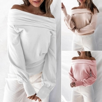 Solid Color Off-the-Shoulder Long Sleeve Top