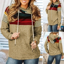 Fashion Contrast Color Striped Spliced Hooded Sweatshirt