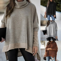 Fashion Contrast Color Long Sleeve Turtleneck High-low Hem Top
