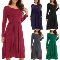 Simple Style Long Sleeve Round Neck Solid Color Dress