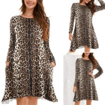Fashion Long Sleeve Round Neck Leopard Printed Dress