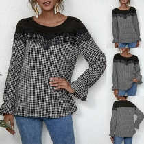 Fashion Lace Spliced Long Sleeve Round Neck Plaid Top